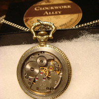 Steampunk  Pocket Watch Pendant Necklace with Upcycled Watch Part Movement with Gears (1773)
