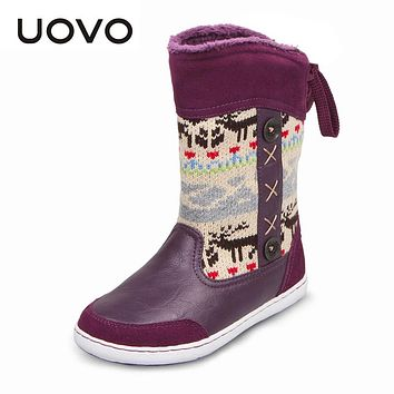 UOVO Brand Hot Kids Shoes Rubber Snow Boots For Girls Christmas Boots High Quality Children's Winter Boots Size 26#-39#