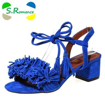 s romance women sandals plus size 34 43 new hot fashion summer office mid heel casual  number 1