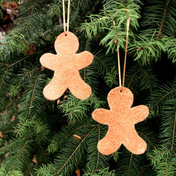 Christmas ornaments, Brown leather ornaments, Brown gingerbread ornaments, Tree decorations, Holiday decor, Christmas decorations, Set of 2