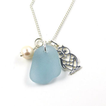 Ocean Sea Glass, Silver Owl Charm, Freshwater Pearl, Pendant Necklace, Seaglass Jewelry, Owl Jewelry