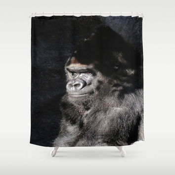 Thoughtful Gorilla Shower Curtain by Colorful Art | Society6