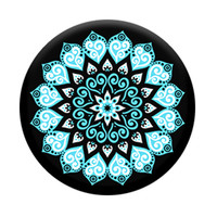 Popsocket Phone Grip & Stand-Floral Abstract, Black-Blue