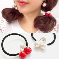 5 PCS Rhinestone cherry hair ornament lovely hair rope