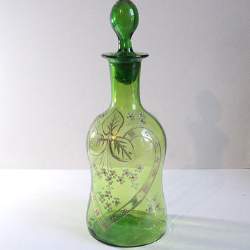 Antique French Enamel Decanter, Art Nouveau Bottle, Jug, Carafe, French Glassware, Legras-Style, Spirits Liquor Decanter, Collectible Bottle