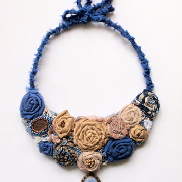 "Embroidery statement necklace ""Wave dance"". Handmade. Romantic satin ribbon roses. Beads. Laces. Sea stone. Pendant with painting by me."