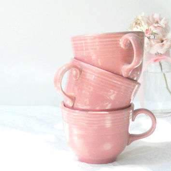 Vintage Fiesta Ware Pink Tea Cups, Set of 3, Homer Laughlin, Tea Party, Wedding, Cottage Style, Coffee Cups, Retro, CIJ