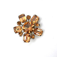 Small Rhinestone Brooch, Champagne Color, Collar - Hat - Sweater Pin, Lot of Sparkle, Prongset Stones