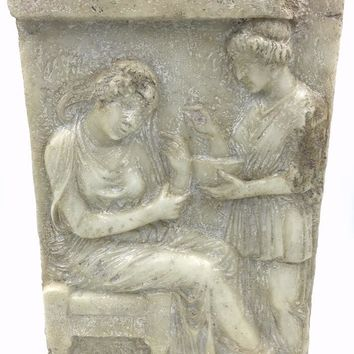 Greek Tombstone Stele of Glykylla Wall Hanging Relief 15.25H