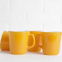 Vintage Set of Four Sunny Yellow Corning Mugs, Glass with White Interiors