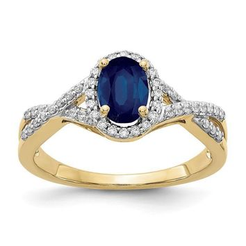 14k Yellow Gold Genuine Blue Sapphire Oval & Diamond Halo Twist Ring