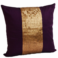 Decorative Throw Pillows -Purple gold color block in silk sequin bead detail cushion -sequin bead pillow - 18X18 Purple pillow - gift pillow