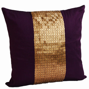 Throw Pillows - Purple gold color block in silk sequin bead detail cushion - sequin bead pillow - 16X16 Purple pillow - gift beaded pillow