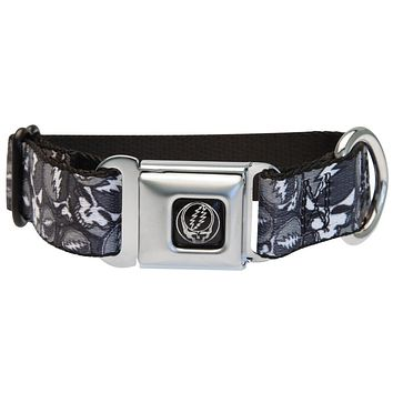 Grateful Dead - Steal Your Face Stacked Black Dog Collar