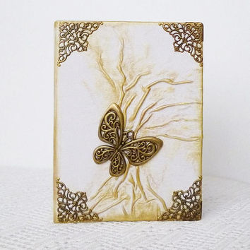 White Photo Album, 4x6, Gold Forest, Bronze Butterfly, Leather Gift for Her, Friend, Tree of Life, Birthday, Christmas, Wedding, Anniversary