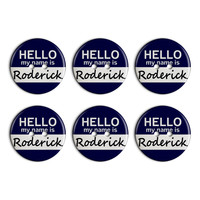 Roderick Hello My Name Is Plastic Resin Button Set of 6
