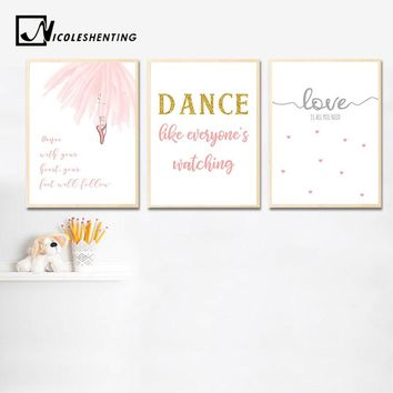 Baby Girl Nursery Wall Art Canvas Posters Ballerina Dance Prints Cartoon Painting Nordic Kids Decoration Picture Bedroom Decor