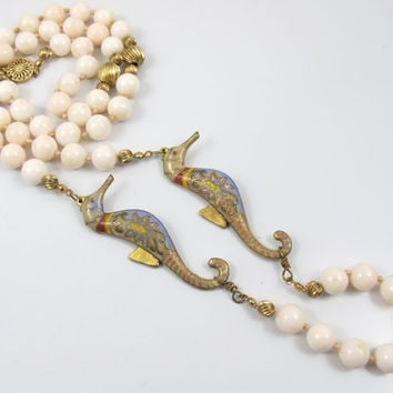 Vtg Chinese Angel Skin Coral Necklace Cloisonne Enamel Seahorses 14K Gold Fill Melon Beads