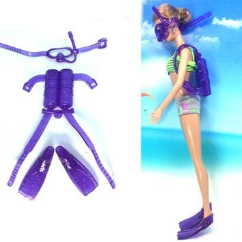 NK One Set Doll Diving equipment Accessories Plastic oxygen tank Swimming Glasses Feets For Barbie Doll Girl Birthday Best Gift