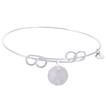 Sterling Silver Carefree Bangle Bracelet With Plain Charm Tag Charm