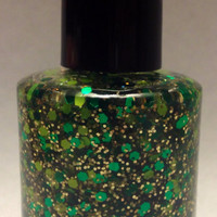 Kiss Me I'm Irish- St. Pattys Day Handmade Glitter Nail Polish