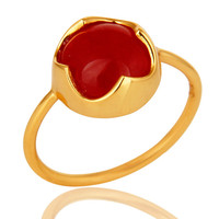 Natural Red Aventurine Gemstone Sterling Silver Ring With Yellow Gold Plated