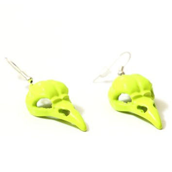 Raven Skull Dangling Earrings Neon Yellow Crow Occult Bird Head EB49 Fashion Jewelry