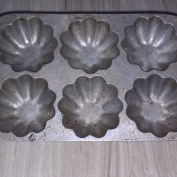 Vintage Muffin Tin by Opa Cast Aluminum -  Primitive Mini Bundt Cake Pan Country Kitchen Rustic Bakeware MidCentury Cookware
