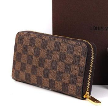 ICIKB62 LV Louis Vuitton 2018 Trendy Women's High Quality Leather Zipper Wallet F Coffee+Tartan