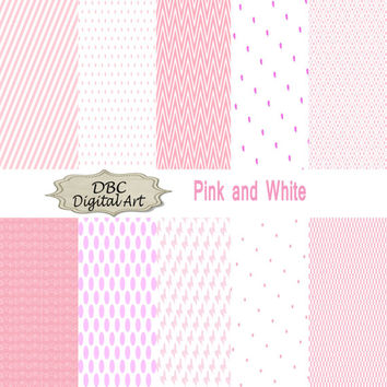 Pink girl digital paper rose polka dots checkerboards hearts stripes chevron scrapbook paper scrapbooking ireeting cards backgrounds