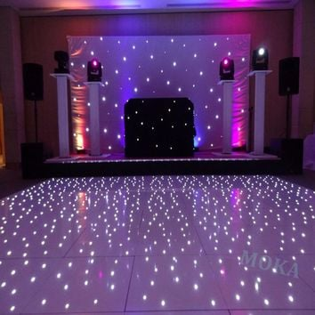 12*10 Feet Starlit LED Dance Floor 2*2ft dance floor panel White RGB Color Mixing led star dancing wedding floor remote Control
