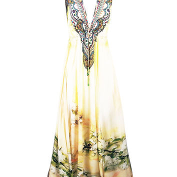 Floral-Printed V-Neck White Maxi Dress In Cherry Blossom Print BL-213