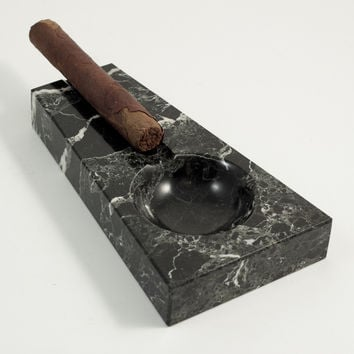 Solid Marble Cigar Ashtray, Black