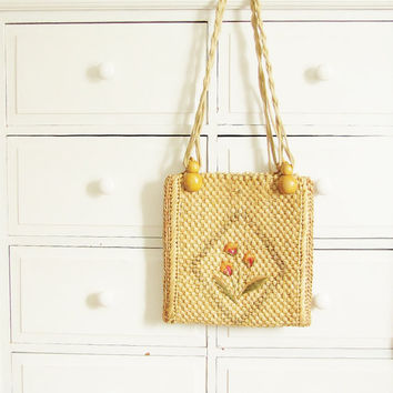 Vintage 1960's Straw Tote by Coldfish on Etsy