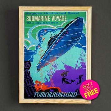 Vintage Disneyland Tomorrowland Submarine Voyage Attraction Poster Reprint Home Wall Decor Gift Linen Print - Buy 2 Get 1 FREE - 370s2g