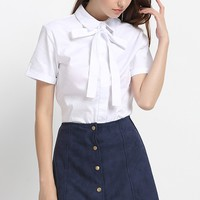 White Bow Decor Lapel Short Sleeve Shirt