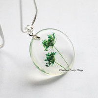 Real Flower Necklace Green Queen Anne's Lace Small Resin Jewelry Dandelion Firework Pendant 925 Silver Plated Nature