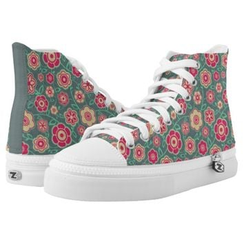 Teal And Pink Tomboy Floral Pattern Printed Shoes