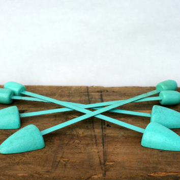 Vintage Turquoise Blue Shoe Shapers - Set of 2 Shoe Shapers - Metal and Wood Painted Shoe Stretchers Shapers - 1950's - Shoe Tree