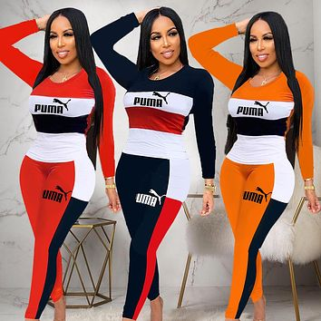 PUMA Autumn Fashion Women Casual Long Sleeve Top Pants Trousers Set Two-Piece Sportswear