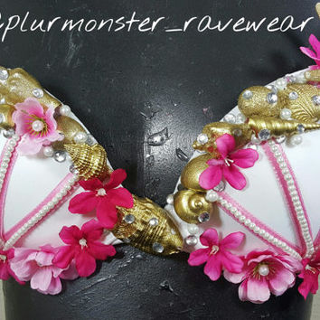 Pink and gold mermaid seashell bra- plurmaid rave top- mermaid seashell festival bra- pink queen mermaid bra