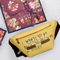 Gucci Waist Bag Belt Bag Fashion Women Leather Print Single-Shoulder Bag Crossbody Yellow