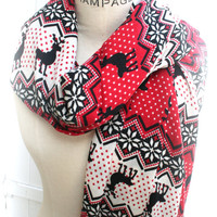 Red Christmas holiday gift ideas, deer print, snowflake infinity scarves, Pashmina Scarf, Womens scarves, neck warmer, womens gift, PiYOYO
