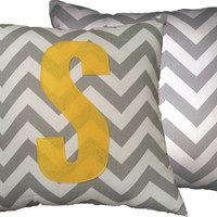 """Chevron Throw Pillow Cover in your choice of Fabric and Monogram colors - 18"""" x 18"""" w/Initial"""