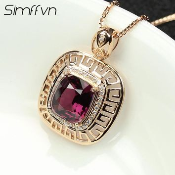 Simffvn Halo 18K Rose Gold Round Cut 2.64 CT Square Shape Spinel  Pendant Anniversary For Women Fine Jewelry Without a Chain
