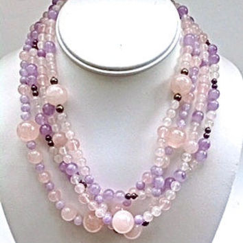Amethyst Rose Quartz Sterling Silver Necklace, 4 Multi Strand, Vintage