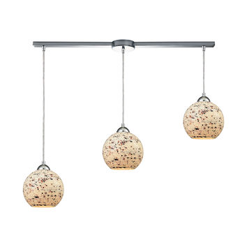 Crosshatch 3 Light Linear Bar Fixture In Polished Chrome With Spatter Mosaic Glass