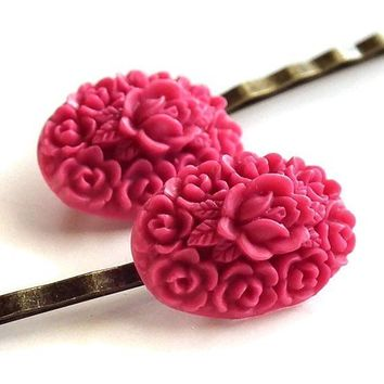 Fuschia Roses Lucite Flower Antiqued Brass Bobby Pins
