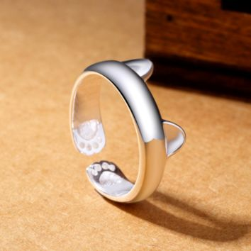 Bohemian Rings Charms Meow Cat Ear Paw Footprint Open Adjustable Ring