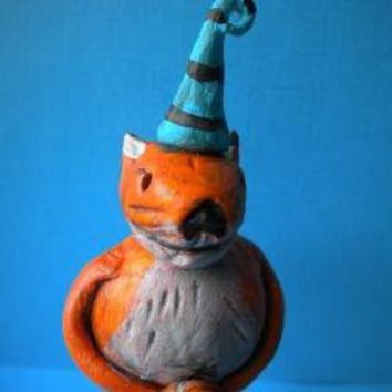 Woodland Fox with Pumpkinpaper clay sculpture READY by indigotwin